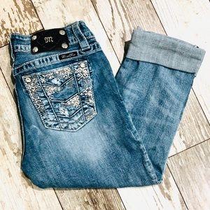 Miss Me Distressed Boyfriend Capri Jeans